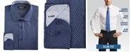 Nine West Men's Slim-Fit Wrinkle-Free Performance Stretch Navy & White Floral Dot Dress Shirt