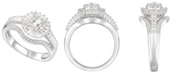 Macy's 3/4 ct. t.w. Round & Baguette Shape Diamond Ring in 14k White Gold