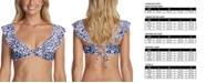 Raisins Juniors' Darwin Printed Palisades Ruffled Bikini Top