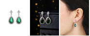 A&M Silver-Tone Emerald Accent Tear Drop Earrings