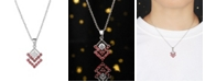 A&M Silver-Tone Ruby Accent Triangle Pendant Necklace