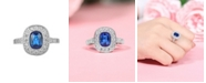 A&M Silver-Tone Sapphire Accent Ring