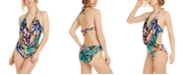 Bar III Hidden Jungle Printed Cowl-Neck Monokini One-Piece Swimsuit, Created for Macy's