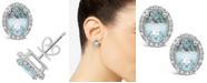 Macy's Aquamarine (2-1/10 ct. t.w.) and Diamond (1/5 ct. t.w.) Stud Earrings in Sterling Silver