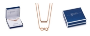 Unwritten Gratitude & Grace Rose Gold Flash Plated Cubic Zirconia Infinity and Bar Layer Pendant Necklace