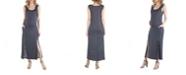 24seven Comfort Apparel Maternity Polka Dot Sleeveless Slip Dress with Side Slits