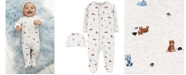 Carter's Baby Boys or Girls 2-Pc. Cotton Animal-Print Coveralls & Hat Set