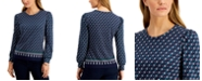 Charter Club Geometric-Print Puff-Sleeve Top, Created for Macy's