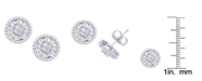Macy's Cubic Zirconia Round Halo Stud Earrings in Fine Silver Plated