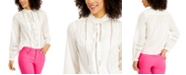 Charter Club Cotton Ruffled Lace-Trim Blouse, Created for Macy's