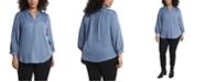 Vince Camuto Women's Plus Size Sleeve Split Neck Blouse