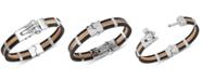 Macy's Men's Orange & Black Vulcanized Rubber Bracelet in Stainless Steel