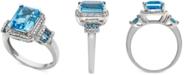 Macy's Blue Topaz (4-1/3 ct. t.w.) & Diamond (1/4 ct. t.w.) in 14k White Gold