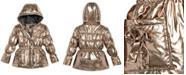 S Rothschild & CO S. Rothschild Little Girls Hooded Metallic Puffer Jacket