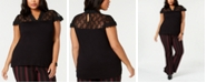 INC International Concepts INC Plus Size Lace-Trim Top, Created for Macy's