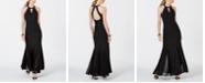 Nightway Glitter-Knit Teardrop Petite Gown