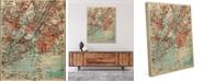 "Creative Gallery Vintage New York Map 20"" X 24"" Canvas Wall Art Print"