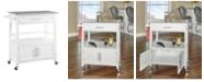 Linon Home Decor Cameron Kitchen Cart with Granite Top, White