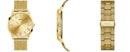 GUESS Men's Gold-Tone Stainless Steel Mesh Bracelet Watch 44mm