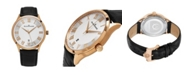 Stuhrling Alexander Watch A103-04, Stainless Steel Rose Gold Tone Case on Black Embossed Genuine Leather Strap