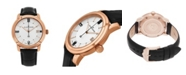 Stuhrling Alexander Watch A111-06, Stainless Steel Rose Gold Tone Case on Black Embossed Genuine Leather Strap