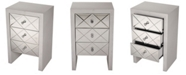 Heather Ann Creations Heather Ann Laurel Mirrored Accent Cabinet with 3 Drawers