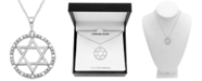 "Macy's Diamond (1/10 ct. t.w.) Star of David 18"" Pendant Necklace in Sterling Silver"