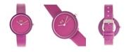 Crayo Unisex Blade Purple Leatherette Strap Watch 37mm