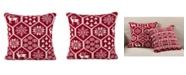 "Saro Lifestyle Holiday Fair Isle Design Accent Cushion Polyester Filled Throw Pillow, 18"" x 18"""