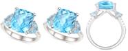Macy's Blue Topaz (5 ct. t.w.) & White Topaz (1/4 ct. t.w.) Ring in Sterling Silver