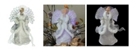 """Northlight 13"""" Lighted Fiber Optic Angel in Silver Gray Gown Christmas Tree Topper"""