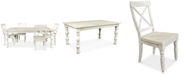 Furniture Aberdeen Worn White Expandable Dining Furniture, 5-Pc. Set (Table & 4 Side Chairs)