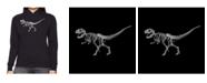 LA Pop Art Women's Word Art Hooded Sweatshirt -Dinosaur T-Rex Skeleton
