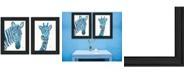 "Trendy Decor 4U Blue Zebra Giraffe 2-Piece Vignette by Lisa Morales, Black Frame, 15"" x 19"""