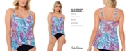 Swim Solutions Palmalicious Printed Princess-Seam Tankini Top, Created for Macy's