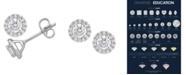 Macy's Certified Diamond 3/4 ct. t.w. Halo Stud Earrings in 14k White Gold