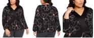 Alfani Plus Size Printed Surplice-Neck Blouse, Created for Macy's