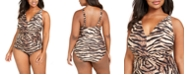 Michael Kors Plus Size Tiger Printed Twist-Front Tummy Control One-Piece Swimsuit
