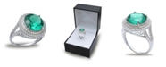 Macy's Green Cubic Zirconia Double Pave Row Ring  (7-1/2 ct. t.w.) In Sterling Silver