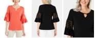 JM Collection Keyhole Bell-Sleeve Top, Created for Macy's
