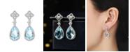 A&M Silver-Tone Blue Topaz Tear Drop Earrings