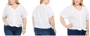 Style & Co Plus Size Cotton Tie-Front Top, Created for Macy's