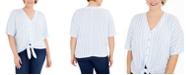 Michael Kors Plus Size Striped Tie-Hem Top