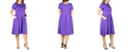24seven Comfort Apparel Women's Plus Size Short Sleeve Midi Skater Dress