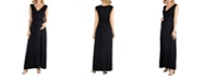 24seven Comfort Apparel V Neck Sleeveless Maternity Maxi Dress with Belt