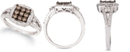 Le Vian Chocolate Diamond & Nude Diamond Square Cluster Statement Ring (3/4 ct. t.w.) in 14k White Gold