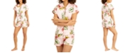 INC International Concepts Tropical Floral Satin Pajama Shorts Set, Created for Macy's