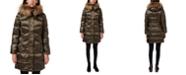 Sam Edelman High-Shine Faux-Fur-Trim Hooded Puffer Coat