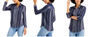 Style & Co Petite Sparkle Striped Shirt, Created for Macy's