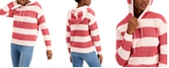 Style & Co Striped Ribbed Hoodie Sweater, Created for Macy's